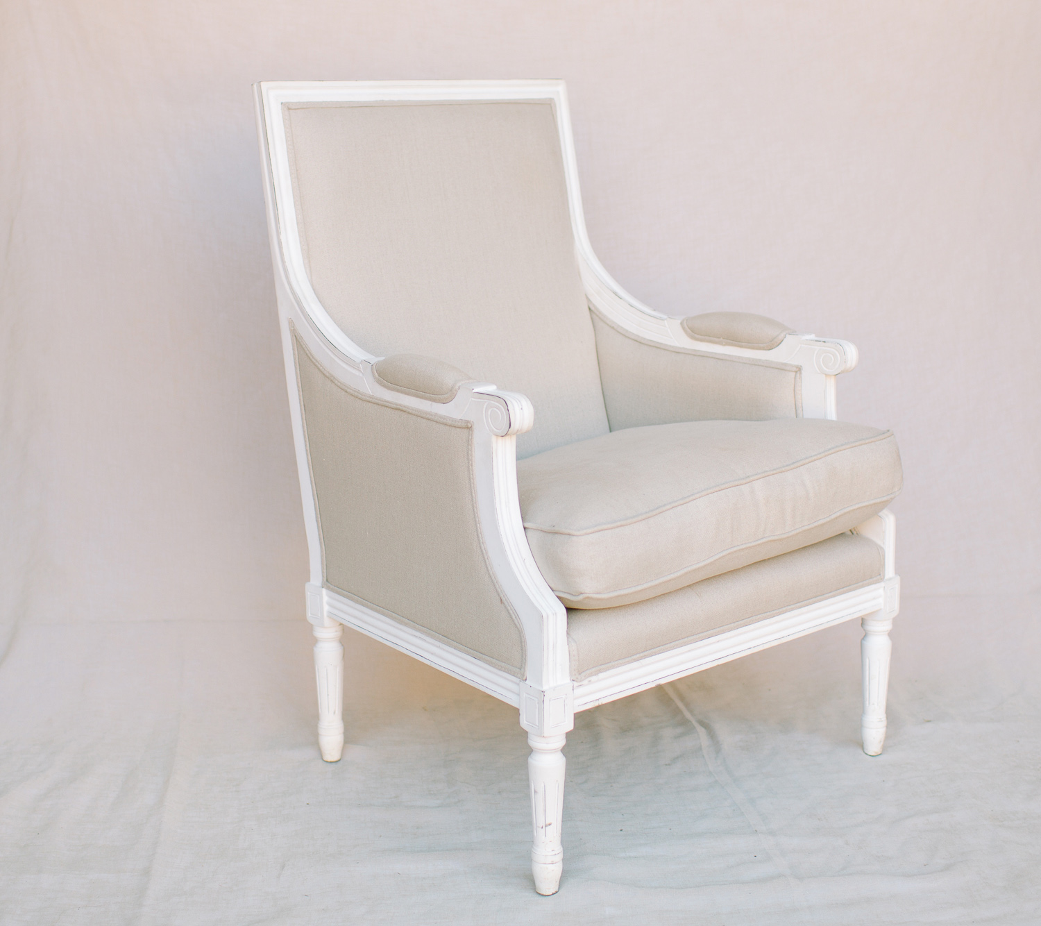 paris french linen armchair 50 rosie pose event hire luxe