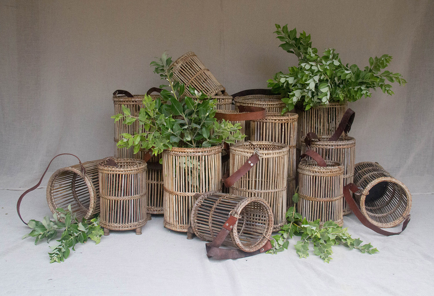 Bamboo + Leather Basket / from $4