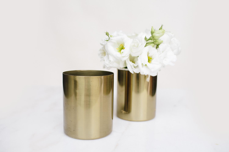 Brass / Gold Cylinder Vase / $3
