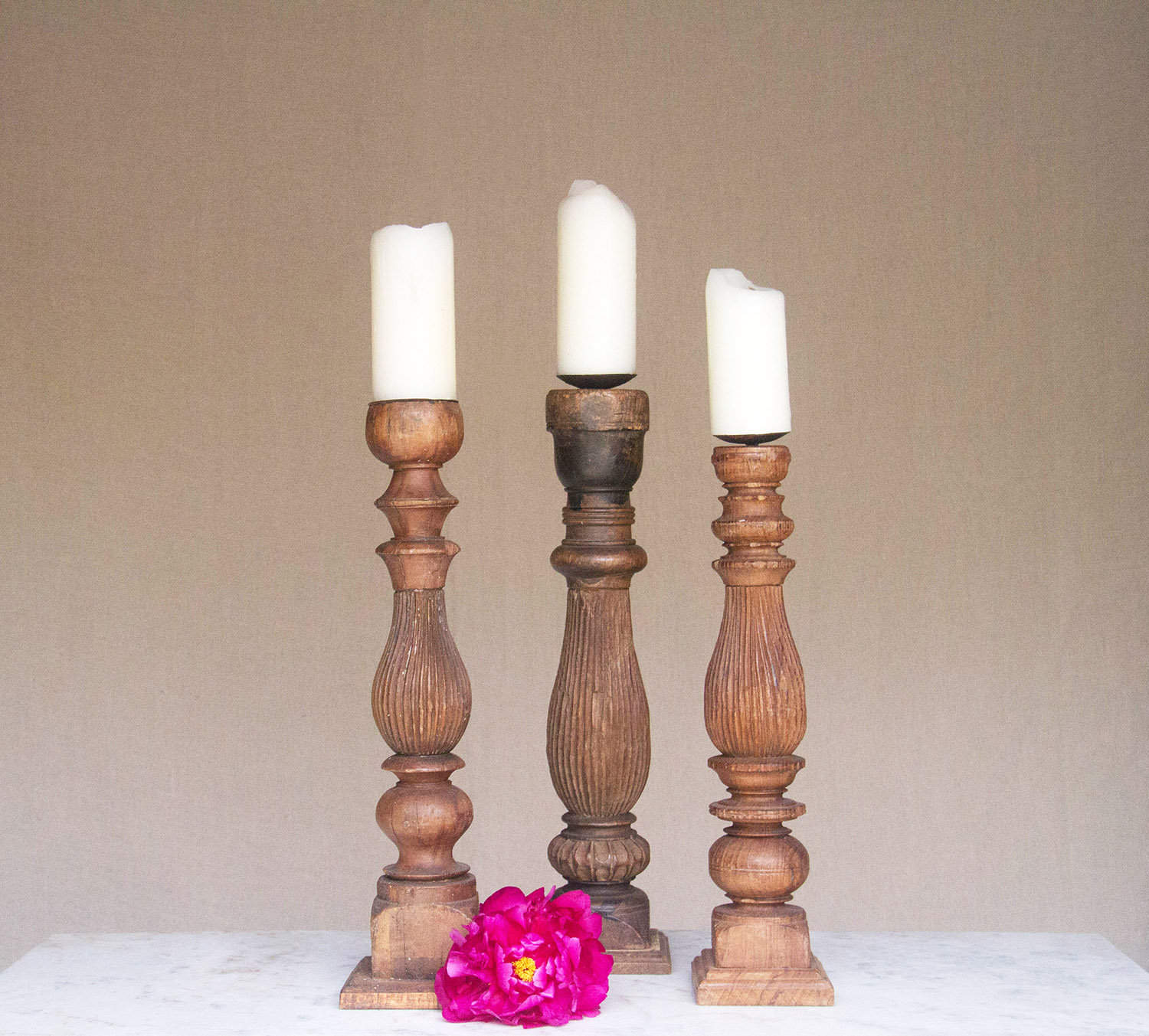 Indian Carved Candlestick / $10