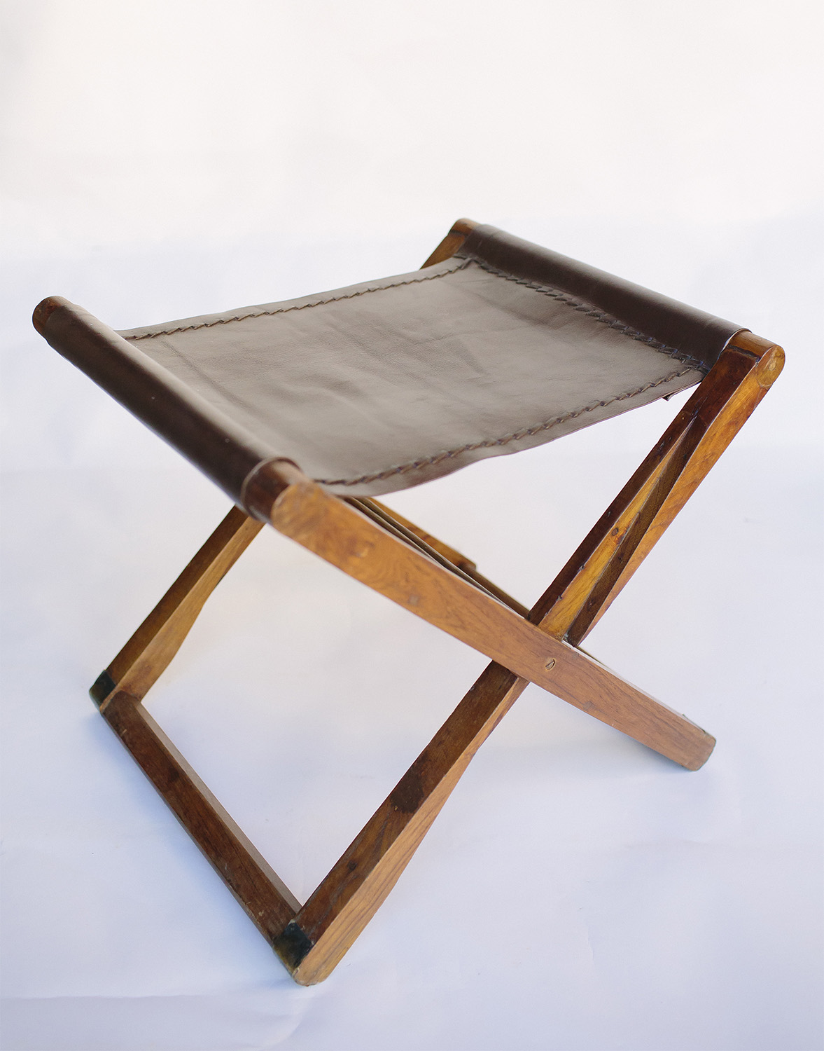 Leather Folding Stool / $15