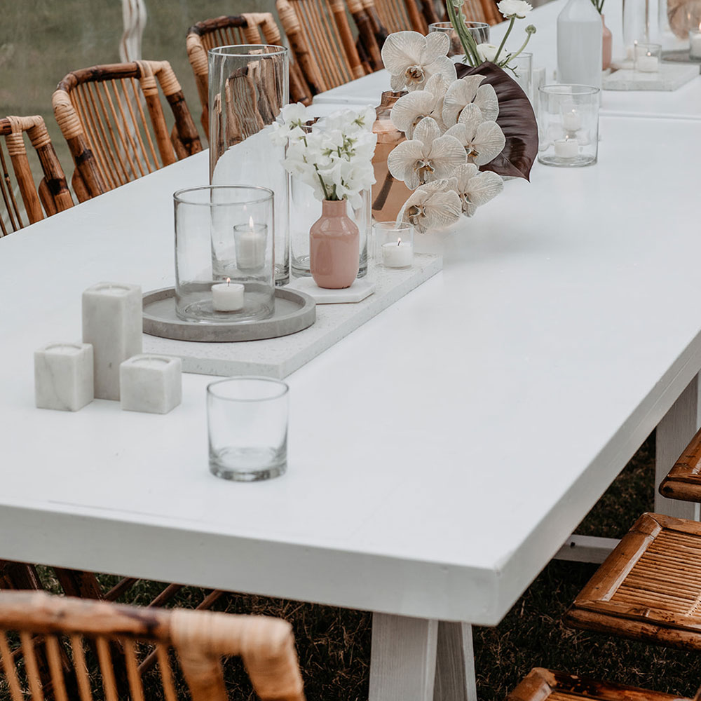 Montana Trestle Table White Rosie Pose Event Hire Luxe